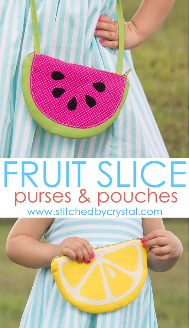 DIY Bags for Summer - Fruit Slice Purses and Pouches - Easy Ideas to Make for Beach and Pool - Quick Projects for a Bag on A Budget - Cute No Sew Idea, Quick Sewing Patterns - Paint and Crafts for Making Creative Beach Bags - Fun Tutorials for Kids, Teens, Teenagers, Girls and Adults http://diyprojectsforteens.com/diy-bags-summer
