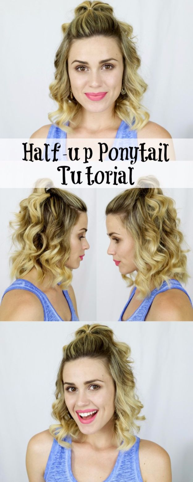 Cool Hair Tutorials for Summer - Half-up Ponytail - Easy Hairstyles and Creative Looks for Hair - Beachy Waves, Hair Styles for Short Hair, Medium Length and Long Hair - Ponytails, Updo Ideas and Quick Last Minute Hairstyle for Teens, Teenagers and Women http://diyprojectsforteens.com/cool-hairstyles-summer