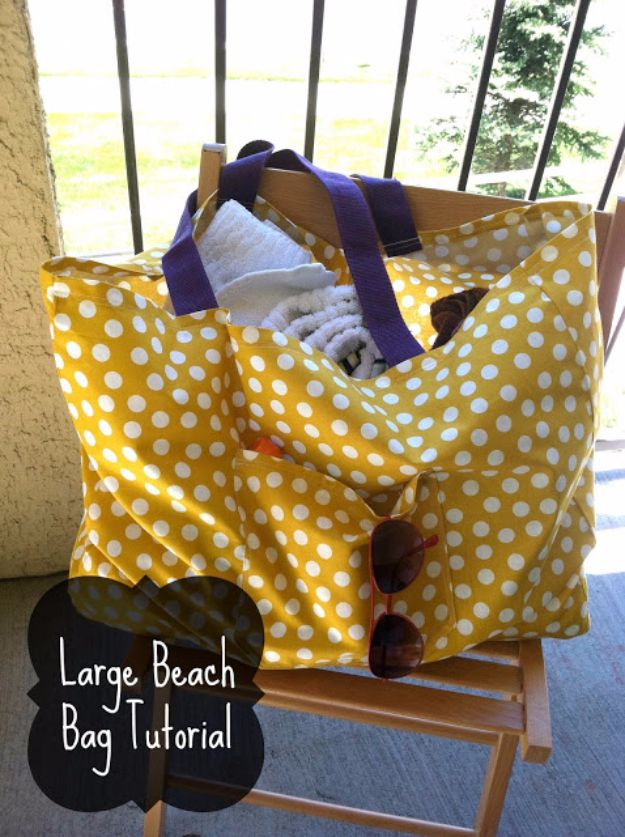 DIY Bags for Summer - Large Beach Bag - Easy Ideas to Make for Beach and Pool - Quick Projects for a Bag on A Budget - Cute No Sew Idea, Quick Sewing Patterns - Paint and Crafts for Making Creative Beach Bags - Fun Tutorials for Kids, Teens, Teenagers, Girls and Adults
