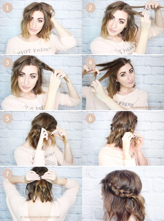 Cool Hair Tutorials for Summer - Messy Braided Crown - Easy Hairstyles and Creative Looks for Hair - Beachy Waves, Hair Styles for Short Hair, Medium Length and Long Hair - Ponytails, Updo Ideas and Quick Last Minute Hairstyle for Teens, Teenagers and Women http://diyprojectsforteens.com/cool-hairstyles-summer