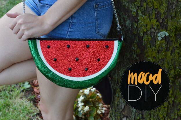 DIY Bags for Summer - No Sew Watermelon Purse - Easy Ideas to Make for Beach and Pool - Quick Projects for a Bag on A Budget - Cute No Sew Idea, Quick Sewing Patterns - Paint and Crafts for Making Creative Beach Bags - Fun Tutorials for Kids, Teens, Teenagers, Girls and Adults