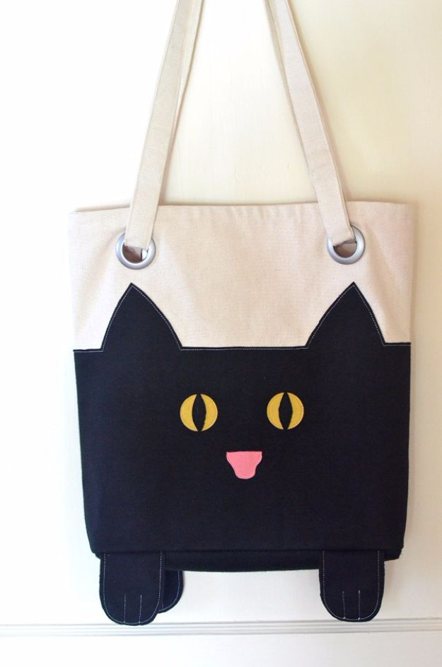 DIY Bags for Summer - Paws And All Cat Tote - Easy Ideas to Make for Beach and Pool - Quick Projects for a Bag on A Budget - Cute No Sew Idea, Quick Sewing Patterns - Paint and Crafts for Making Creative Beach Bags - Fun Tutorials for Kids, Teens, Teenagers, Girls and Adults