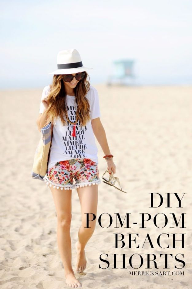Cool Summer Fashions for Teens - Pom-pom Beach Shorts - Easy Sewing Projects and No Sew Crafts for Fun Fashion for Teenagers - DIY Clothes, Shoes and Accessories for Summertime Looks - Cheap and Creative Ways to Dress on A Budget http://diyprojectsforteens.com/diy-summer-fashion-teens