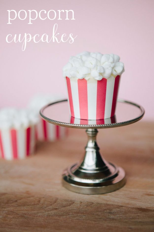 Easy Desserts for Teens to Make at Home - Popcorn Cupcakes - Cool Dessert Recipes That Are Simple and Quick Enough For Teens, Teenagers and Older Kids - Best Dorm Snacks and Ideas - Microwave, No Bake, 3 Ingredient, Chocolate, Mug Cakes and More http://diyjoy.com/desserts-teens-to-make-at-home