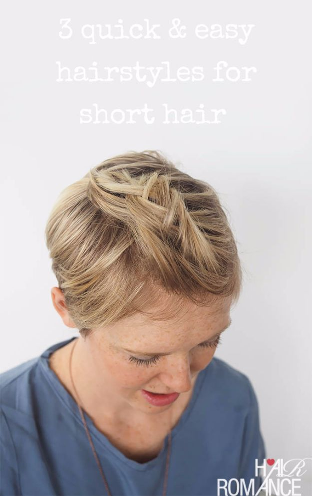 Cool Hair Tutorials for Summer - Short Hair Braid - Easy Hairstyles and Creative Looks for Hair - Beachy Waves, Hair Styles for Short Hair, Medium Length and Long Hair - Ponytails, Updo Ideas and Quick Last Minute Hairstyle for Teens, Teenagers and Women http://diyprojectsforteens.com/cool-hairstyles-summer