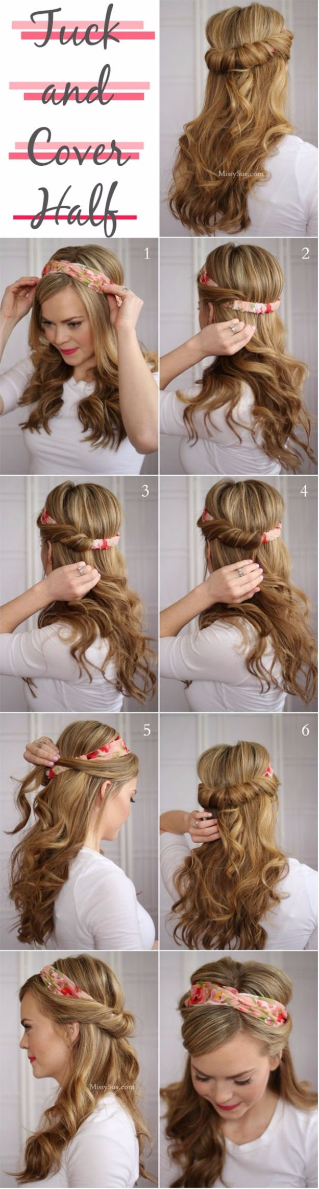 Cool Hair Tutorials for Summer - Tuck and Cover Half Up Hairstyle - Easy Hairstyles and Creative Looks for Hair - Beachy Waves, Hair Styles for Short Hair, Medium Length and Long Hair - Ponytails, Updo Ideas and Quick Last Minute Hairstyle for Teens, Teenagers and Women http://diyprojectsforteens.com/cool-hairstyles-summer
