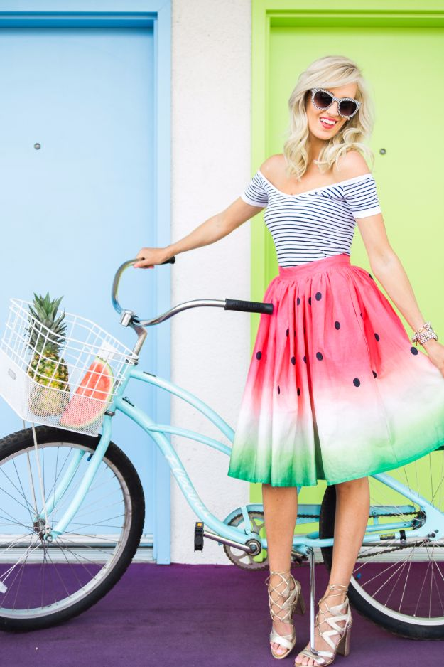 Cool Summer Fashions for Teens - Watermelon Skirt - Easy Sewing Projects and No Sew Crafts for Fun Fashion for Teenagers - DIY Clothes, Shoes and Accessories for Summertime Looks - Cheap and Creative Ways to Dress on A Budget http://diyprojectsforteens.com/diy-summer-fashion-teens