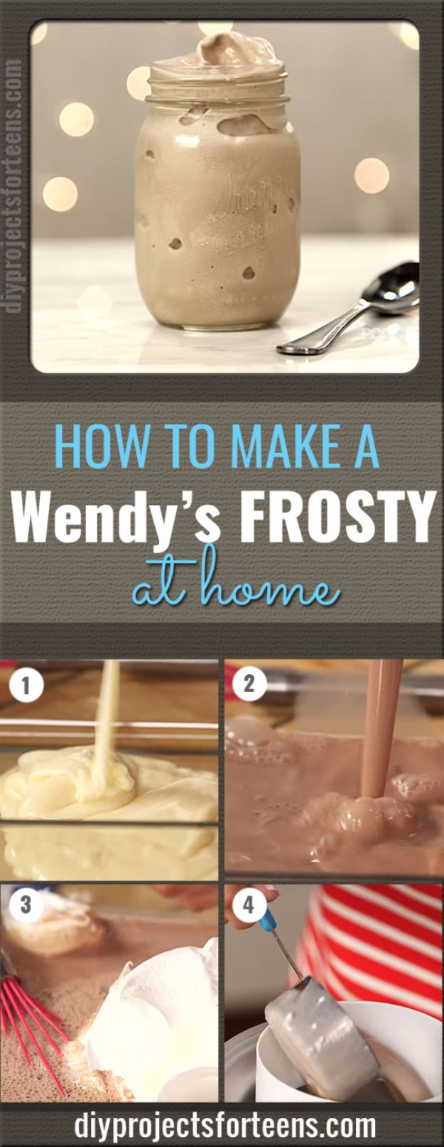 Easy Desserts for Teens to Make at Home - Wendy's Frosty At Home - Cool Dessert Recipes That Are Simple and Quick Enough For Teens, Teenagers and Older Kids - Best Dorm Snacks and Ideas - Microwave, No Bake, 3 Ingredient, Chocolate, Mug Cakes and More http://diyjoy.com/desserts-teens-to-make-at-home