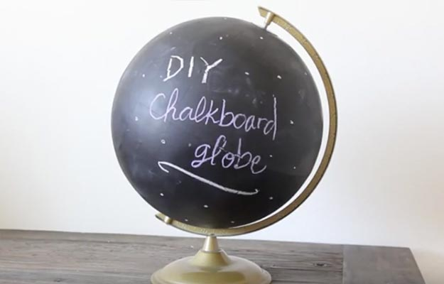 DIY Chalkboard Globe-Cool Room Decor For Teens-Cheap And Easy Crafts To Make And Sell-Cheap Bedroom Decor For Teenagers