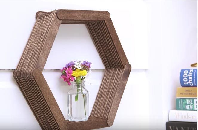 By Using Only Popsicle Sticks And Glue She Makes A Diy