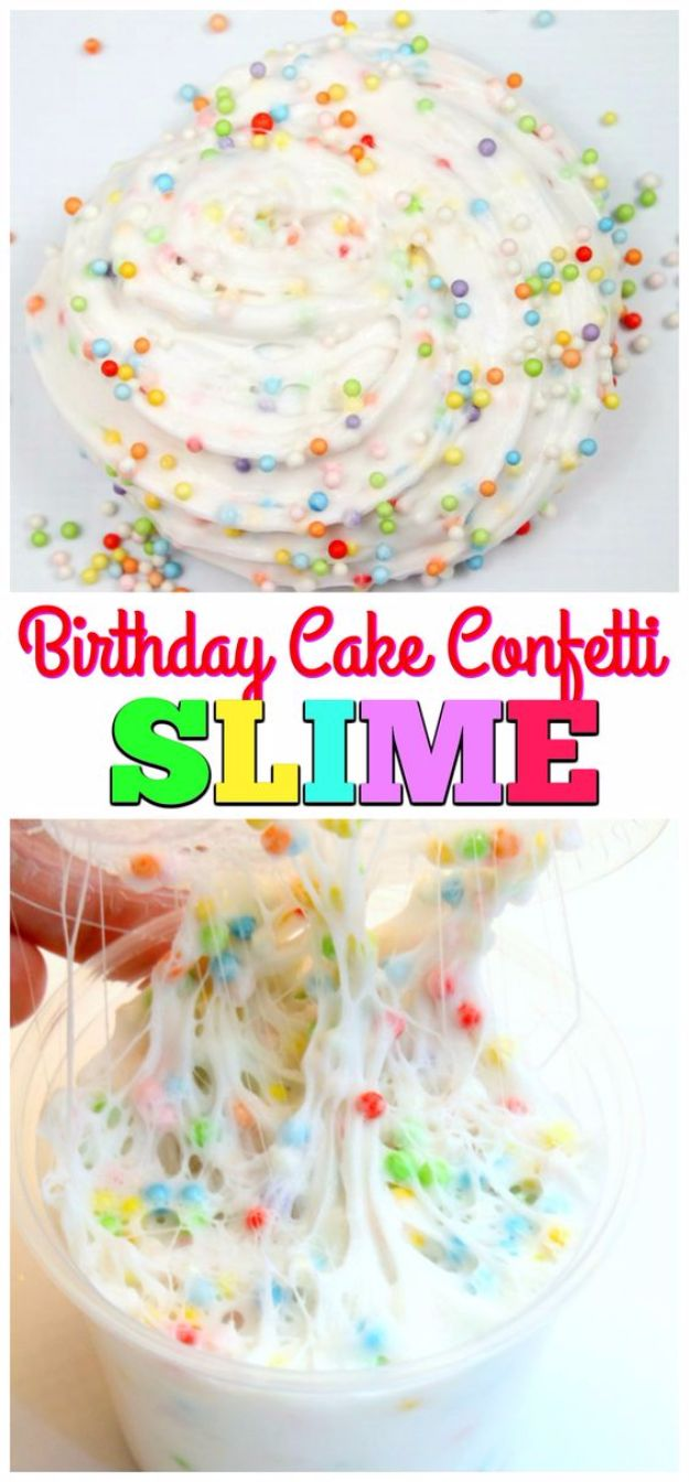 Best DIY Slime Recipes - Birthday Cake Confetti Slime - Cool and Easy Slime Recipe and Tutorials - Ideas Without Glue, Without Borax, For Kids, With Liquid Starch, Cornstarch and Laundry Detergent - How to Make Slime at Home - Fun Crafts and DIY Projects for Teens, Kids, Teenagers and Teens - Galaxy and Glitter Slime, Edible Slime, Rainbow Colored Slime, Shaving Cream recipes and more fun crafts and slimes http://diyprojectsforteens.com/diy-slime-recipe-ideas