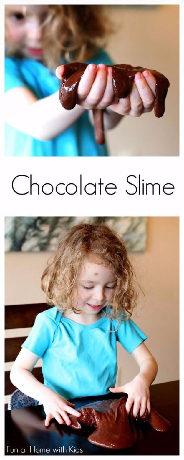 Best DIY Slime Recipes - Chocolate Stretchy Slime - Cool and Easy Slime Recipe and Tutorials - Ideas Without Glue, Without Borax, For Kids, With Liquid Starch, Cornstarch and Laundry Detergent - How to Make Slime at Home - Fun Crafts and DIY Projects for Teens, Kids, Teenagers and Teens - Galaxy and Glitter Slime, Edible Slime, Rainbow Colored Slime, Shaving Cream recipes and more fun crafts and slimes http://diyprojectsforteens.com/diy-slime-recipe-ideas