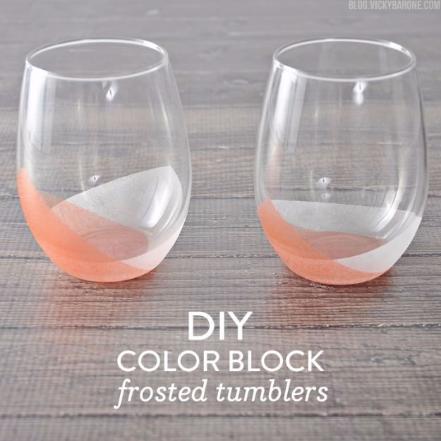 Cheap Crafts for Teens - DIY Color Block Frosted Tumblers - Inexpensive DIY Projects for Teenagers and Tweens - Cute Room Decor, School Supplies, Accessories and Clothing You Can Make On A Budget - Fun Dollar Store Crafts - Cool DIY Gift Ideas for Christmas, Birthdays, BFF gifts and more - Step by Step Tutorials and Instructions #cheapcrafts #dollarstorecrafts #teencrafts #dollartreecrafts