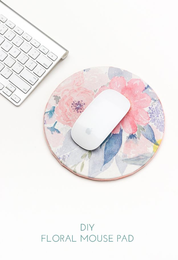 Cheap Crafts for Teens - DIY Floral Mouse Pad - Inexpensive DIY Projects for Teenagers and Tweens - Cute Room Decor, School Supplies, Accessories and Clothing You Can Make On A Budget - Fun Dollar Store Crafts - Cool DIY Gift Ideas for Christmas, Birthdays, BFF gifts and more - Step by Step Tutorials and Instructions #cheapcrafts #dollarstorecrafts #teencrafts #dollartreecrafts