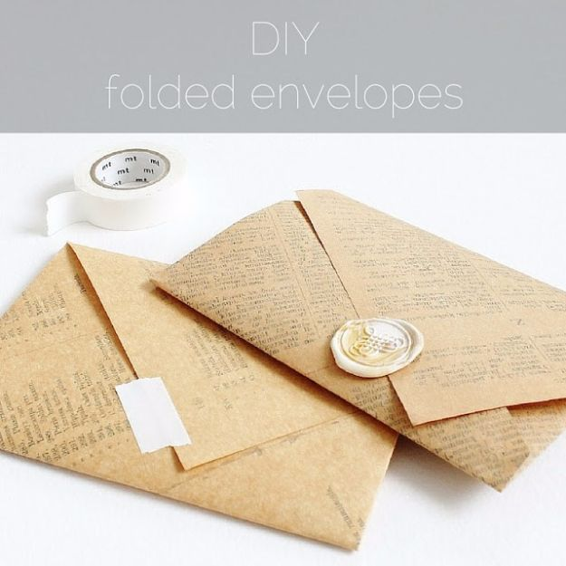 Cheap Crafts for Teens - DIY Folded Envelopes - Inexpensive DIY Projects for Teenagers and Tweens - Cute Room Decor, School Supplies, Accessories and Clothing You Can Make On A Budget - Fun Dollar Store Crafts - Cool DIY Gift Ideas for Christmas, Birthdays, BFF gifts and more - Step by Step Tutorials and Instructions #cheapcrafts #dollarstorecrafts #teencrafts #dollartreecrafts