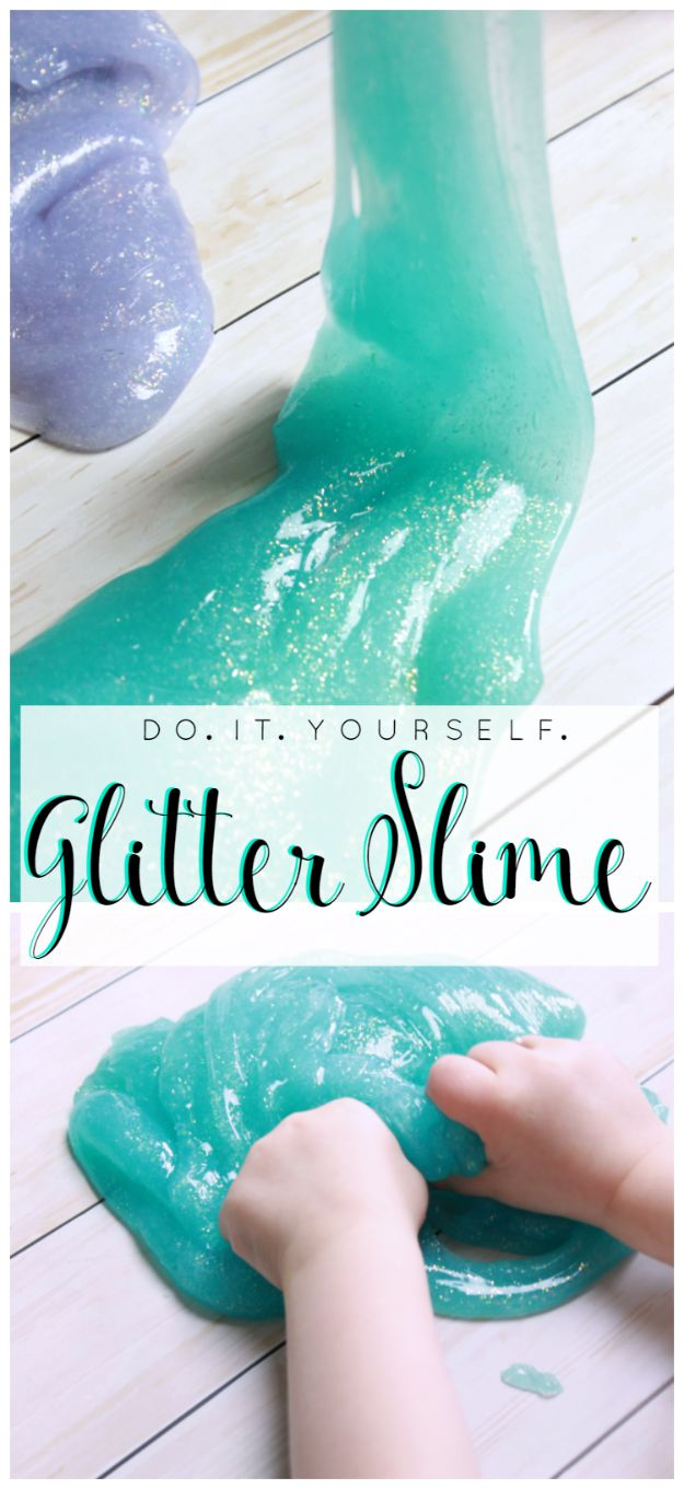 Best DIY Slime Recipes - DIY Glitter Slime - Cool and Easy Slime Recipe and Tutorials - Ideas Without Glue, Without Borax, For Kids, With Liquid Starch, Cornstarch and Laundry Detergent - How to Make Slime at Home - Fun Crafts and DIY Projects for Teens, Kids, Teenagers and Teens - Galaxy and Glitter Slime, Edible Slime, Rainbow Colored Slime, Shaving Cream recipes and more fun crafts and slimes http://diyprojectsforteens.com/diy-slime-recipe-ideas