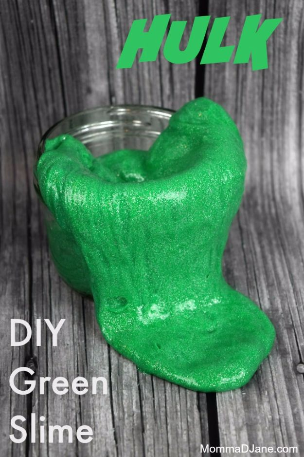 Best DIY Slime Recipes - DIY Hulk Green Slime - Cool and Easy Slime Recipe and Tutorials - Ideas Without Glue, Without Borax, For Kids, With Liquid Starch, Cornstarch and Laundry Detergent - How to Make Slime at Home - Fun Crafts and DIY Projects for Teens, Kids, Teenagers and Teens - Galaxy and Glitter Slime, Edible Slime, Rainbow Colored Slime, Shaving Cream recipes and more fun crafts and slimes http://diyprojectsforteens.com/diy-slime-recipe-ideas