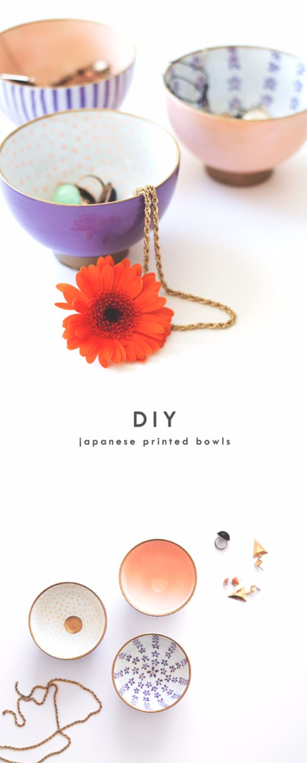 Cheap Crafts for Teens - DIY Japanese Printed Bowls - Inexpensive DIY Projects for Teenagers and Tweens - Cute Room Decor, School Supplies, Accessories and Clothing You Can Make On A Budget - Fun Dollar Store Crafts - Cool DIY Gift Ideas for Christmas, Birthdays, BFF gifts and more - Step by Step Tutorials and Instructions #cheapcrafts #dollarstorecrafts #teencrafts #dollartreecrafts