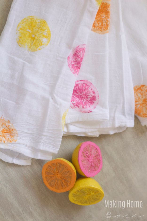 Cheap Crafts for Teens - DIY Painted Tea Towel - Inexpensive DIY Projects for Teenagers and Tweens - Cute Room Decor, School Supplies, Accessories and Clothing You Can Make On A Budget - Fun Dollar Store Crafts - Cool DIY Gift Ideas for Christmas, Birthdays, BFF gifts and more - Step by Step Tutorials and Instructions #cheapcrafts #dollarstorecrafts #teencrafts #dollartreecrafts