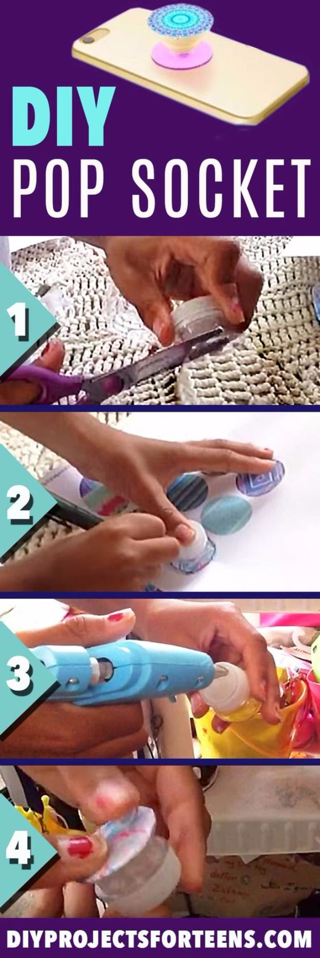 Cheap Crafts for Teens - DIY Pop Socket - Inexpensive DIY Projects for Teenagers and Tweens - Cute Room Decor, School Supplies, Accessories and Clothing You Can Make On A Budget - Fun Dollar Store Crafts - Cool DIY Gift Ideas for Christmas, Birthdays, BFF gifts and more - Step by Step Tutorials and Instructions #cheapcrafts #dollarstorecrafts #teencrafts #dollartreecrafts