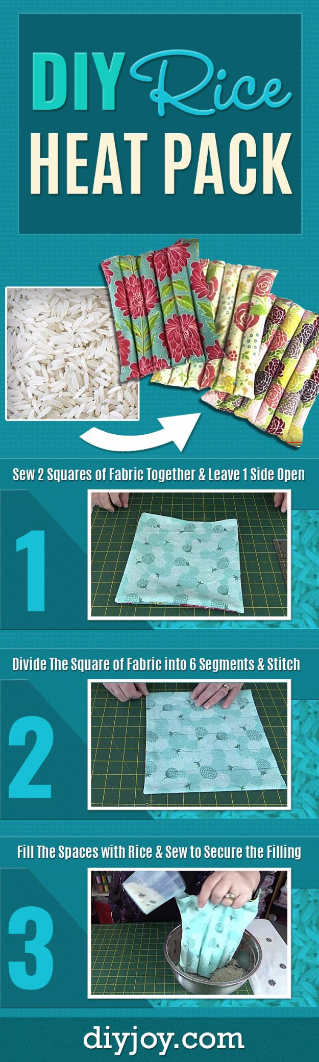 Cheap Crafts for Teens - DIY Rice Heat Pack - Inexpensive DIY Projects for Teenagers and Tweens - Cute Room Decor, School Supplies, Accessories and Clothing You Can Make On A Budget - Fun Dollar Store Crafts - Cool DIY Gift Ideas for Christmas, Birthdays, BFF gifts and more - Step by Step Tutorials and Instructions #cheapcrafts #dollarstorecrafts #teencrafts #dollartreecrafts