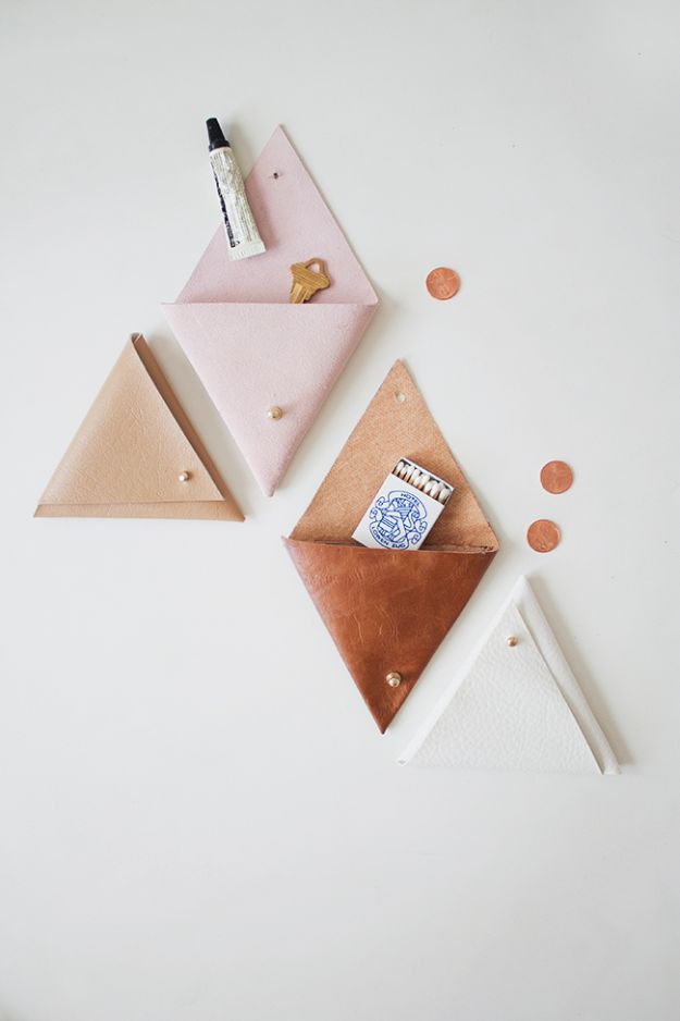Cheap Crafts for Teens - DIY Triangle Leather Pouch - Inexpensive DIY Projects for Teenagers and Tweens - Cute Room Decor, School Supplies, Accessories and Clothing You Can Make On A Budget - Fun Dollar Store Crafts - Cool DIY Gift Ideas for Christmas, Birthdays, BFF gifts and more - Step by Step Tutorials and Instructions #cheapcrafts #dollarstorecrafts #teencrafts #dollartreecrafts