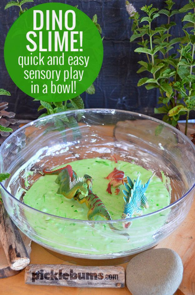Best DIY Slime Recipes - Dinosaur Slime - Cool and Easy Slime Recipe and Tutorials - Ideas Without Glue, Without Borax, For Kids, With Liquid Starch, Cornstarch and Laundry Detergent - How to Make Slime at Home - Fun Crafts and DIY Projects for Teens, Kids, Teenagers and Teens - Galaxy and Glitter Slime, Edible Slime, Rainbow Colored Slime, Shaving Cream recipes and more fun crafts and slimes http://diyprojectsforteens.com/diy-slime-recipe-ideas