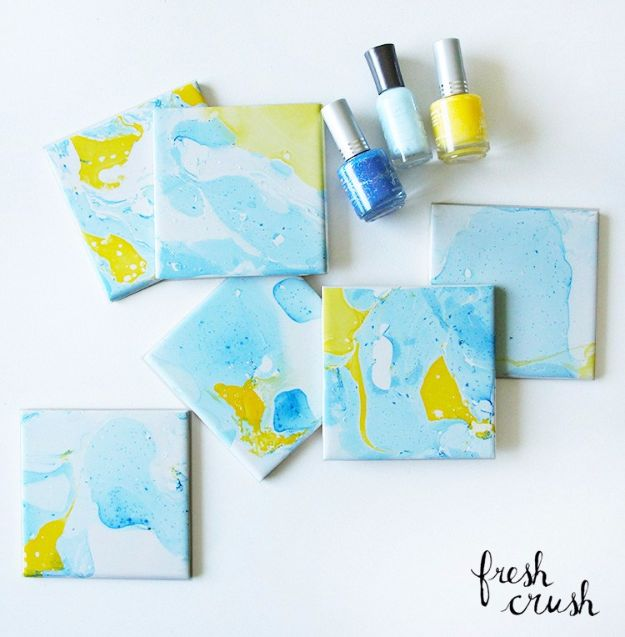 Cheap Crafts for Teens - Marbled Coasters - Inexpensive DIY Projects for Teenagers and Tweens - Cute Room Decor, School Supplies, Accessories and Clothing You Can Make On A Budget - Fun Dollar Store Crafts - Cool DIY Gift Ideas for Christmas, Birthdays, BFF gifts and more - Step by Step Tutorials and Instructions http://diyprojectsforteens.com/cheap-craft-ideas-for-teens/