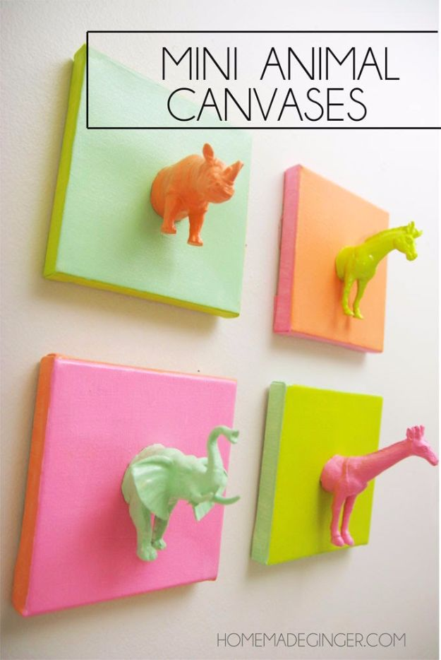 Cheap Crafts for Teens - Mini Animal Canvases - Inexpensive DIY Projects for Teenagers and Tweens - Cute Room Decor, School Supplies, Accessories and Clothing You Can Make On A Budget - Fun Dollar Store Crafts - Cool DIY Gift Ideas for Christmas, Birthdays, BFF gifts and more - Step by Step Tutorials and Instructions #cheapcrafts #dollarstorecrafts #teencrafts #dollartreecrafts