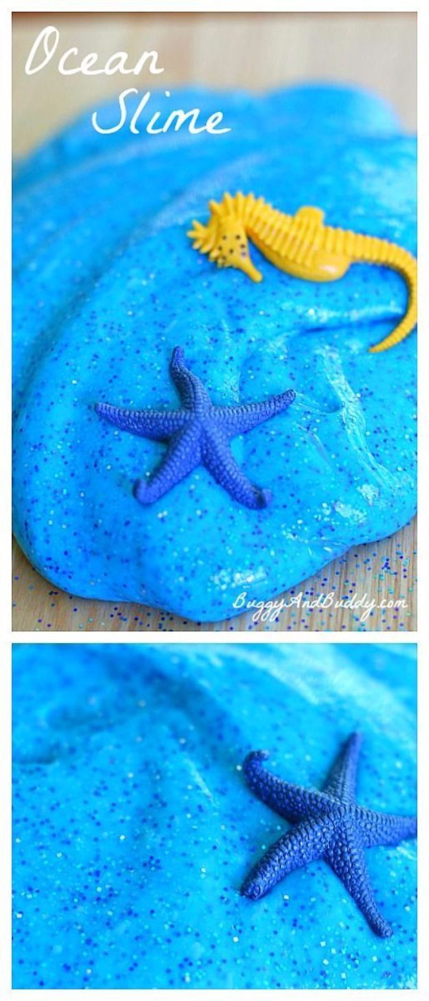 Best DIY Slime Recipes - Ocean Slime - Cool and Easy Slime Recipe and Tutorials - Ideas Without Glue, Without Borax, For Kids, With Liquid Starch, Cornstarch and Laundry Detergent - How to Make Slime at Home - Fun Crafts and DIY Projects for Teens, Kids, Teenagers and Teens - Galaxy and Glitter Slime, Edible Slime, Rainbow Colored Slime, Shaving Cream recipes and more fun crafts and slimes http://diyprojectsforteens.com/diy-slime-recipe-ideas