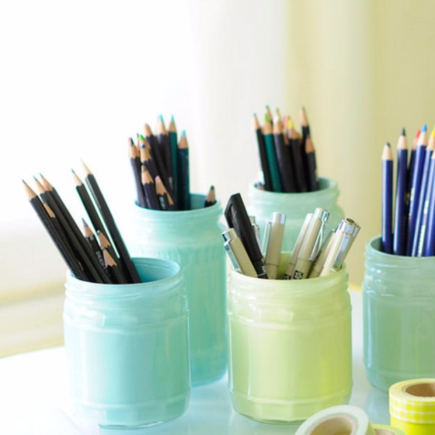 Cheap Crafts for Teens - Painted Pastel Jars - Inexpensive DIY Projects for Teenagers and Tweens - Cute Room Decor, School Supplies, Accessories and Clothing You Can Make On A Budget - Fun Dollar Store Crafts - Cool DIY Gift Ideas for Christmas, Birthdays, BFF gifts and more - Step by Step Tutorials and Instructions #cheapcrafts #dollarstorecrafts #teencrafts #dollartreecrafts