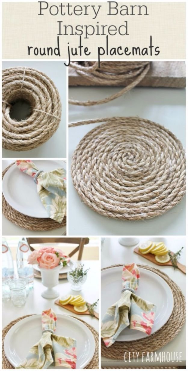 Cheap Crafts for Teens - Pottery Barn Inspired Round Jute Placemats - Inexpensive DIY Projects for Teenagers and Tweens - Cute Room Decor, School Supplies, Accessories and Clothing You Can Make On A Budget - Fun Dollar Store Crafts - Cool DIY Gift Ideas for Christmas, Birthdays, BFF gifts and more - Step by Step Tutorials and Instructions #cheapcrafts #dollarstorecrafts #teencrafts #dollartreecrafts