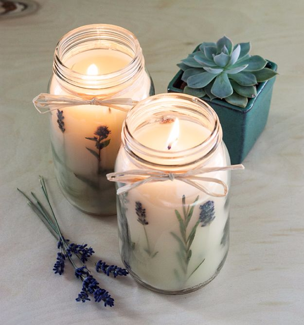 Cheap Crafts for Teens - Pressed Herb Candles - Inexpensive DIY Projects for Teenagers and Tweens - Cute Room Decor, School Supplies, Accessories and Clothing You Can Make On A Budget - Fun Dollar Store Crafts - Cool DIY Gift Ideas for Christmas, Birthdays, BFF gifts and more - Step by Step Tutorials and Instructions #cheapcrafts #dollarstorecrafts #teencrafts #dollartreecrafts