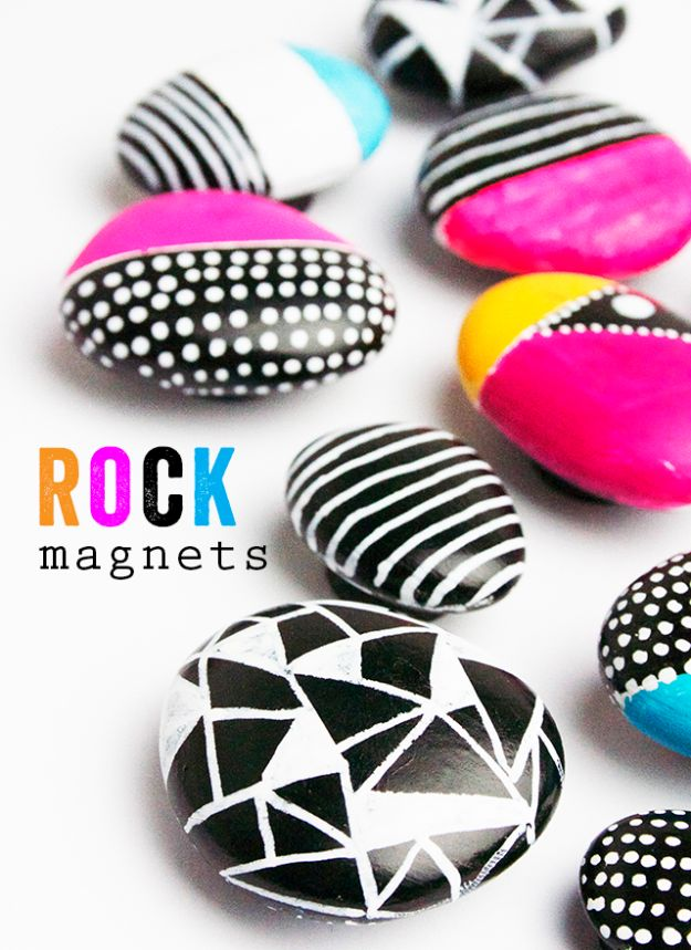 Cheap Crafts for Teens - Rock Magnets - Inexpensive DIY Projects for Teenagers and Tweens - Cute Room Decor, School Supplies, Accessories and Clothing You Can Make On A Budget - Fun Dollar Store Crafts - Cool DIY Gift Ideas for Christmas, Birthdays, BFF gifts and more - Step by Step Tutorials and Instructions #cheapcrafts #dollarstorecrafts #teencrafts #dollartreecrafts