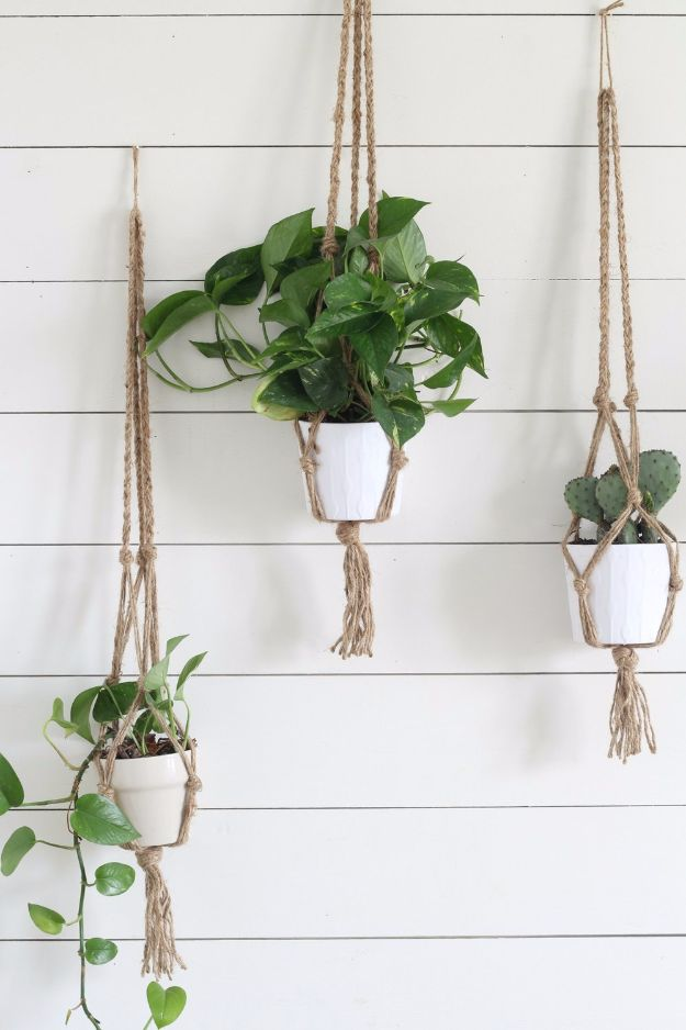 Cheap Crafts for Teens - Simple DIY Macrame Plant Hanger - Inexpensive DIY Projects for Teenagers and Tweens - Cute Room Decor, School Supplies, Accessories and Clothing You Can Make On A Budget - Fun Dollar Store Crafts - Cool DIY Gift Ideas for Christmas, Birthdays, BFF gifts and more - Step by Step Tutorials and Instructions #cheapcrafts #dollarstorecrafts #teencrafts #dollartreecrafts