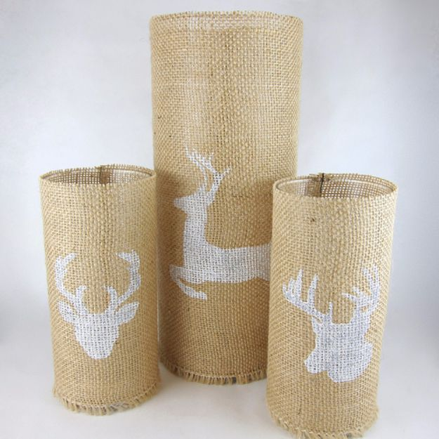 Inexpensive DIY Dollar Store Crafts Cheap Crafts for Teens - Stenciled Burlap Candle Holders - Inexpensive DIY Projects for Teenagers and Tweens - Cute Room Decor, School Supplies, Accessories and Clothing You Can Make On A Budget - Fun Dollar Store Crafts - Cool DIY Gift Ideas for Christmas, Birthdays, BFF gifts and more - Step by Step Tutorials and Instructions #cheapcrafts #dollarstorecrafts #teencrafts #dollartreecrafts