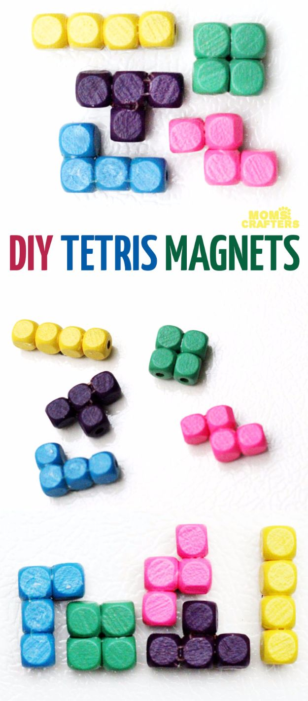 Cheap Crafts for Teens - Tetris Pieces Magnets - Inexpensive DIY Projects for Teenagers and Tweens - Cute Room Decor, School Supplies, Accessories and Clothing You Can Make On A Budget - Fun Dollar Store Crafts - Cool DIY Gift Ideas for Christmas, Birthdays, BFF gifts and more - Step by Step Tutorials and Instructions #cheapcrafts #dollarstorecrafts #teencrafts #dollartreecrafts