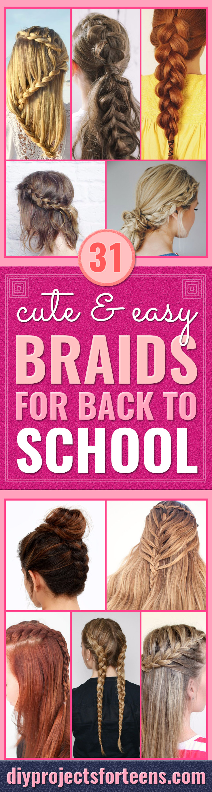 Easy Braids With Tutorials - Cute Braiding Tutorials for Teens, Girls and Women - Easy Step by Step Braid Ideas - Quick Hairstyles for School - Creative Braids for Teenagers - Tutorial and Instructions for Hair Braiding http://diyprojectsforteens.com/easy-braids-tutorials