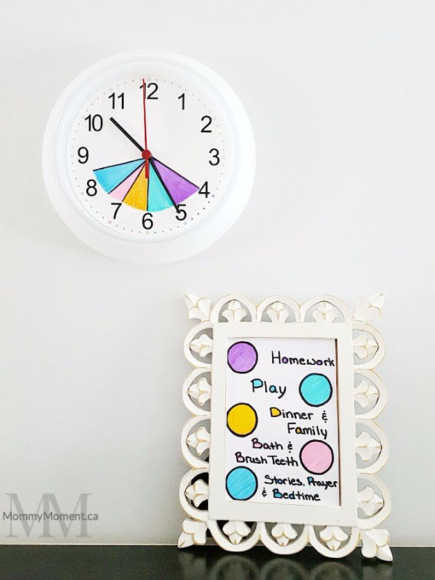 DIY School Supplies - After School Routine Clock - Easy Crafts and Do It Yourself Ideas for Back To School - Pencils, Notebooks, Backpacks and Fun Gear for Going Back To Class - Creative DIY Projects for Cheap School Supplies - Cute Crafts for Teens and Kids http://diyprojectsforteens.com/diy-back-to-school-supplies