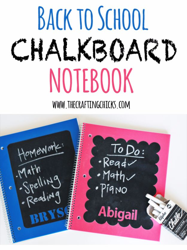 DIY School Supplies - Back To School Chalkboard Notebook - Easy Crafts and Do It Yourself Ideas for Back To School - Pencils, Notebooks, Backpacks and Fun Gear for Going Back To Class - Creative DIY Projects for Cheap School Supplies - Cute Crafts for Teens and Kids http://diyprojectsforteens.com/diy-back-to-school-supplies