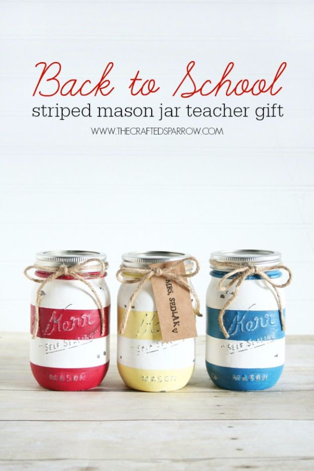 DIY School Supplies - Back To School Mason Jar Teacher Gift - Easy Crafts and Do It Yourself Ideas for Back To School - Pencils, Notebooks, Backpacks and Fun Gear for Going Back To Class - Creative DIY Projects for Cheap School Supplies - Cute Crafts for Teens and Kids #backtoschool #teencrafts #kidscrafts #teen #diyideas #crafts