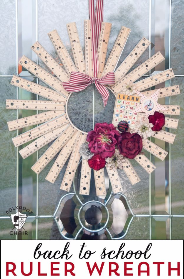 DIY School Supplies - Back To School Ruler Wreath - Easy Crafts and Do It Yourself Ideas for Back To School - Pencils, Notebooks, Backpacks and Fun Gear for Going Back To Class - Creative DIY Projects for Cheap School Supplies - Cute Crafts for Teens and Kids http://diyprojectsforteens.com/diy-back-to-school-supplies