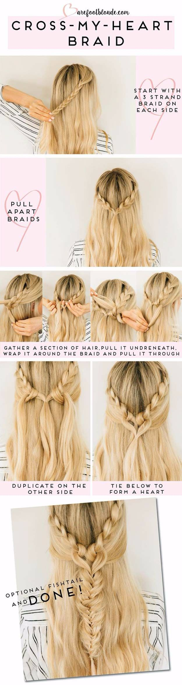 Easy Braids With Tutorials - Cross Heart Braid - Cute Braiding Tutorials for Teens, Girls and Women - Easy Step by Step Braid Ideas - Quick Hairstyles for School - Creative Braids for Teenagers - Tutorial and Instructions for Hair Braiding http://diyprojectsforteens.com/easy-braids-tutorials