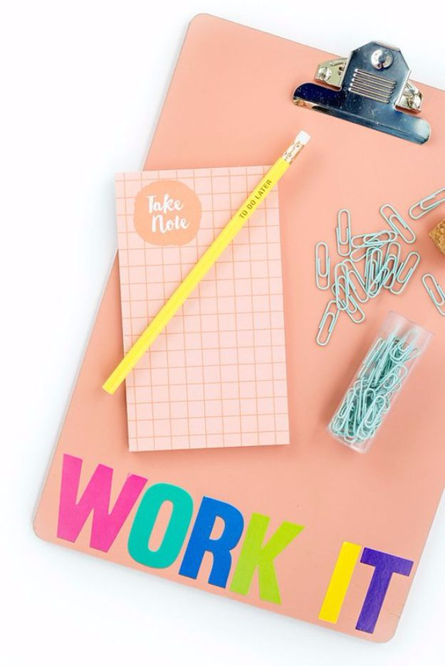 DYI Supplies for Going Back to School Ideas - DIY 'Work It' Back-To-School Clipboard - Easy Crafts for Kids to Make for Going Back To School - Pencils, Notebooks, Backpacks and Fun Gear for Going Back To Class - Creative DIY Projects for Cheap School Supplies - Cute Crafts for Teens and Kids #backtoschool #teencrafts #kidscrafts #teen #diyideas #crafts