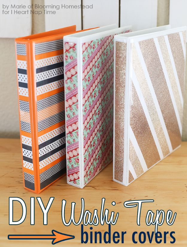 DIY School Supplies - DIY Binder Covers - Easy Crafts and Do It Yourself Ideas for Back To School - Pencils, Notebooks, Backpacks and Fun Gear for Going Back To Class - Creative DIY Projects for Cheap School Supplies - Cute Crafts for Teens and Kids http://diyprojectsforteens.com/diy-back-to-school-supplies