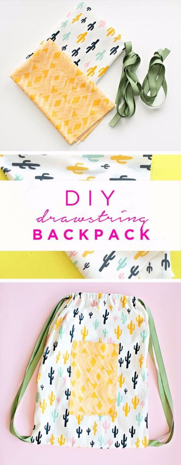 DIY School Supplies - DIY Drawstring Backpack - Easy Crafts and Do It Yourself Ideas for Back To School - Pencils, Notebooks, Backpacks and Fun Gear for Going Back To Class - Creative DIY Projects for Cheap School Supplies - Cute Crafts for Teens and Kids #backtoschool #teencrafts #kidscrafts #teen #diyideas #crafts