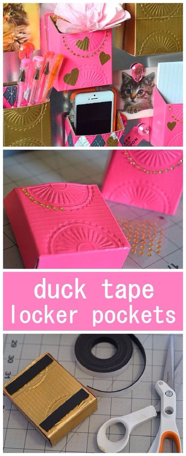 DIY School Supplies - DIY Duct Tape Locker Pockets - Easy Crafts and Do It Yourself Ideas for Back To School - Pencils, Notebooks, Backpacks and Fun Gear for Going Back To Class - Creative DIY Projects for Cheap School Supplies - Cute Crafts for Teens and Kids http://diyprojectsforteens.com/diy-back-to-school-supplies