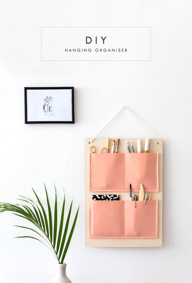 DIY School Supplies - DIY Hanging Organizer - Easy Crafts and Do It Yourself Ideas for Back To School - Pencils, Notebooks, Backpacks and Fun Gear for Going Back To Class - Creative DIY Projects for Cheap School Supplies - Cute Crafts for Teens and Kids #backtoschool #teencrafts #kidscrafts #teen #diyideas #crafts