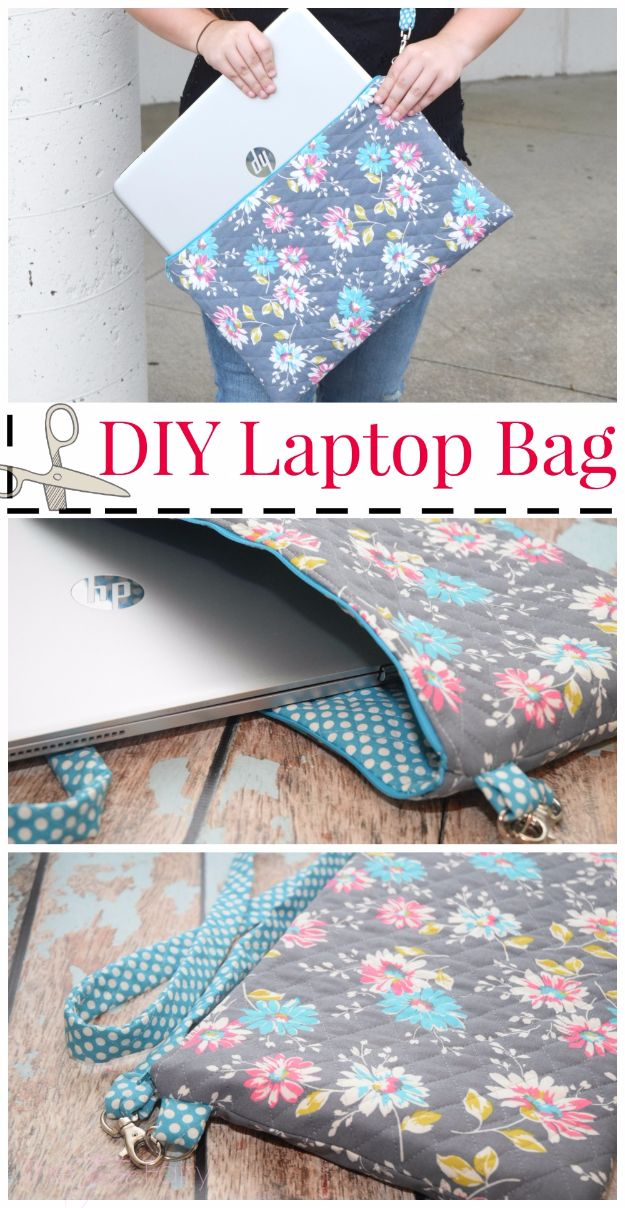 DIY School Supplies - DIY Laptop Bag - Easy Crafts and Do It Yourself Ideas for Back To School - Pencils, Notebooks, Backpacks and Fun Gear for Going Back To Class - Creative DIY Projects for Cheap School Supplies - Cute Crafts for Teens and Kids #backtoschool #teencrafts #kidscrafts #teen #diyideas #crafts