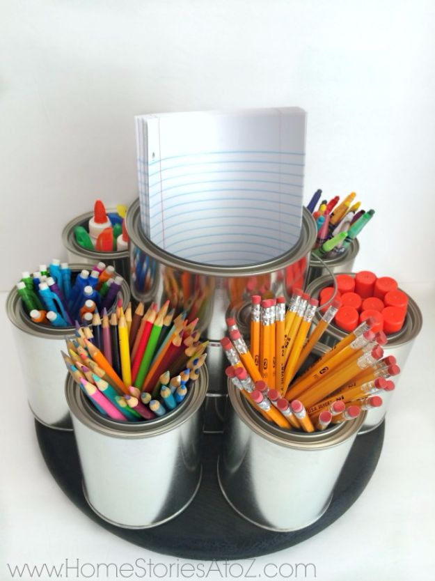 DIY Lazy SDIY School Supplies - DIY Lazy Susan Homework Caddy - Easy Crafts and Do It Yourself Ideas for Back To School - Pencils, Notebooks, Backpacks and Fun Gear for Going Back To Class - Creative DIY Projects for Cheap School Supplies - Cute Crafts for Teens and Kids #backtoschool #teencrafts #kidscrafts #teen #diyideas #craftsusan Homework Caddy